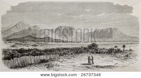 Old view of Nile river and Kukou mountains, southern Sudan. Created by De Bar and Meunier, published on Le Tour du Monde, Paris, 1864