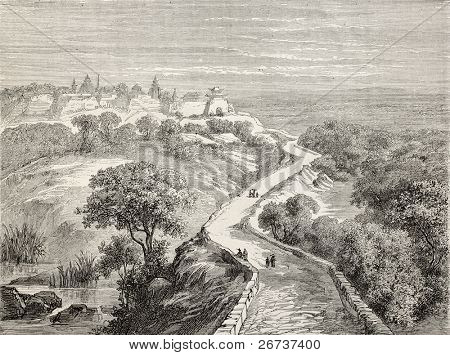 Old illustration of Ma Tao, Chinese locality between Beijing and Tianjin. Created by Lancelot, published on Le Tour du Monde, Paris, 1864