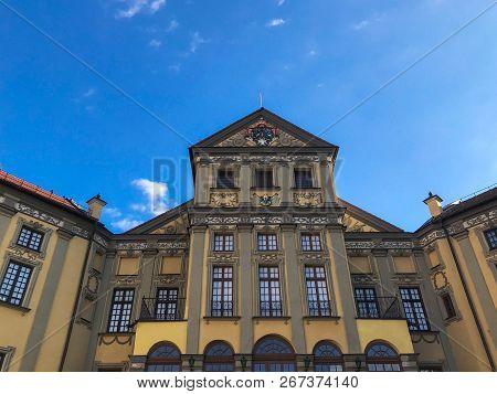 Beautiful Historical Medieval European Buildings With A Tower And Spiers, In The Baroque Style, Goth