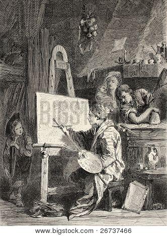 Old illustration of painter workshop. Engraved by Dutheil-Ecosse, after tablet of Boucher in Khalil-Bey gallery. Published on L'Illustration, Journal Universel, Paris, 1868