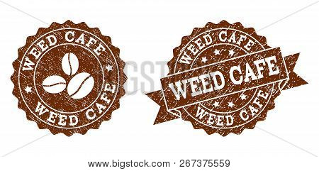 Weed Cafe Rubber Stamps. Vector Seals In Chocolate Color With Round, Ribbon, Rosette, Coffee Bean El