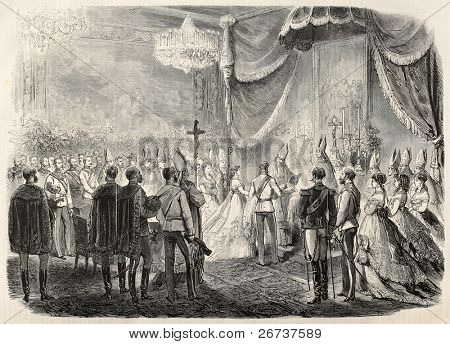 Old illustration of Princess Marie Valerie Mathilde of Austria christening. By Janet-Lange and Cosson-Smeeton, after sketch of Petrovits, published on L'Illustration, Journal Universel, Paris, 1868