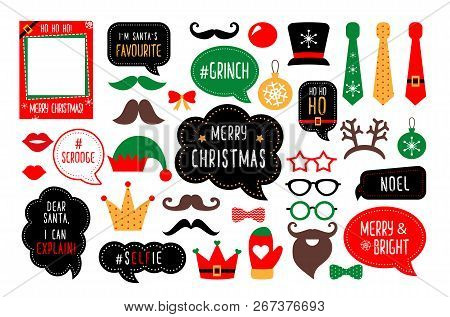 Christmas Photo Booth Props. Santa Hat And Beard, Elf Hat, Deer, Snowman, Candy, Mustache, Lips. Spe