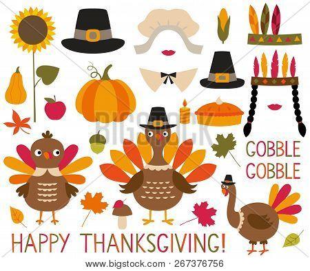 Thanksgiving And Fall Decoration Set (turkeys, Pumpkins, Pilgrim Hats)