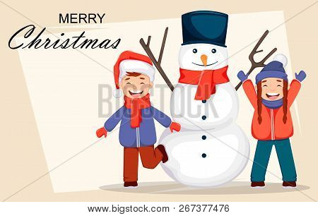 Merry Christmas Greeting Card With Cheerful Kids Playing With Snowman, Cute Cartoon Characters. Usab