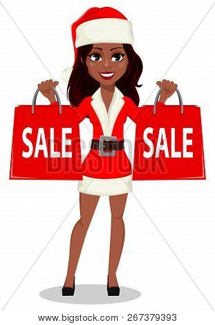 Merry Christmas And Happy New Year. African-american Woman In Santa Claus Costume, Usable For Landin