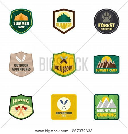 Forest Camp Logo Emblem Set. Flat Set Of 9 Forest Camp Logo Emblem For Web Design