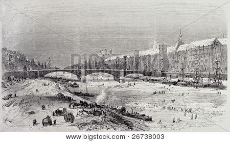 Antique illustration of frozen Seine in Parisian winter. From drawing of Provost and  Cosson-Smeeton, after sketch of Pignard, published on L'Illustration, Journal Universel, Paris, 1868