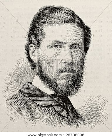 Old engraved portrait of George Potter, British trade unionist. By unknown author, published on L'Illustration, Journal Universel, Paris, 1868 poster