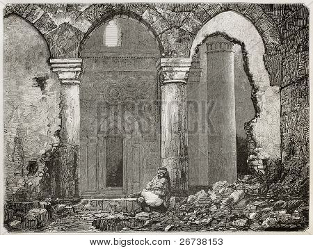Old illustration of Ayaslug (nowadays Selcuk) mosque ruins, Turkey. Created by Gaiaud after photo of Svoboda, published on Le Tour du Monde, Paris, 1864