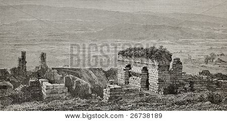 Old illustration of Ephesus gymnasium ruins, Turkey. Created by Gaiaud, published on Le Tour du Monde, Paris, 1864