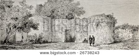 Old illustration of Lefke gate in Iznik (Nicea), Turkey. Created by Gaiaud, published on Le Tour du Monde, Paris, 1864