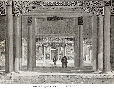 Old illustration of British Legation in Beijing. Created by Therond, published on Le Tour du Monde, Paris, 1864