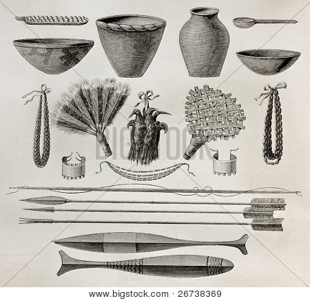 Old illustration of  natives Antis pottery, weapons and ornaments, Peru. Created by Riou, published on Le Tour du Monde, Paris, 1864 poster