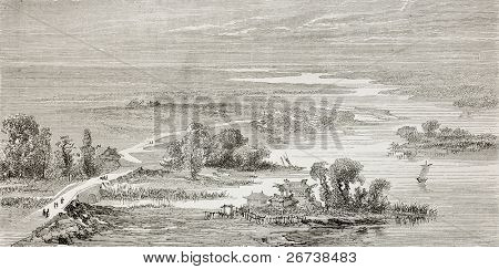 Old illustration of Hai river (previously called Bai He or Pei Ho in western sources), flowing between Beijing and Tianjin. Created by lancelot, published on Le Tour du Monde, Paris, 1864