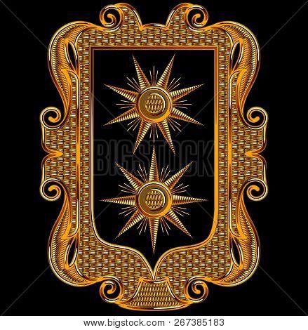 Medieval Goldwork Embroidery Vector Rectangle Frame. Sun Shape Black Background.