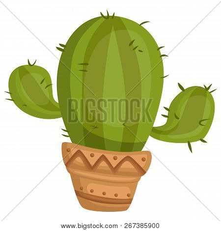 A Vector Of Cactus In A Pot