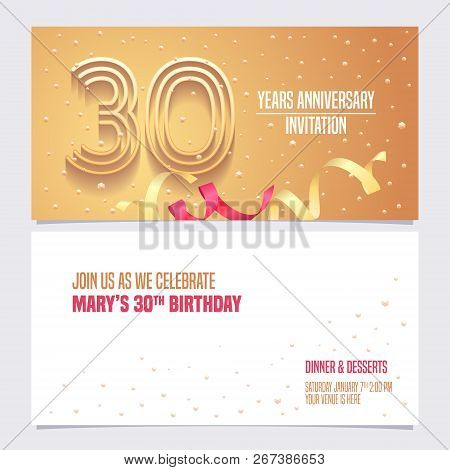 30 Years Anniversary Invitation Vector Illustration. Design Element With Golden Abstract Background