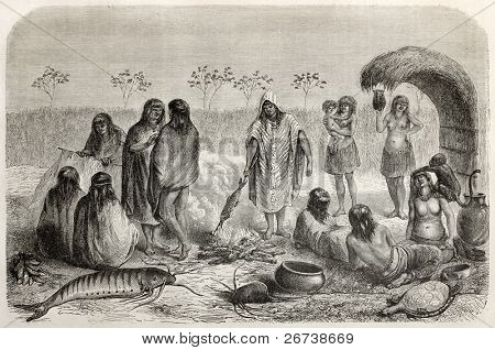 Old illustration of Chontaquiros Peruvian natives fishermen on the bank of Quillabamba river. Created by Riou, published on Le Tour du Monde, Paris, 1864