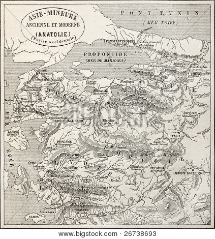 Old map of Anatolia. Created by Erhard and Bonaparte, published on Le Tour du Monde, Paris, 1864