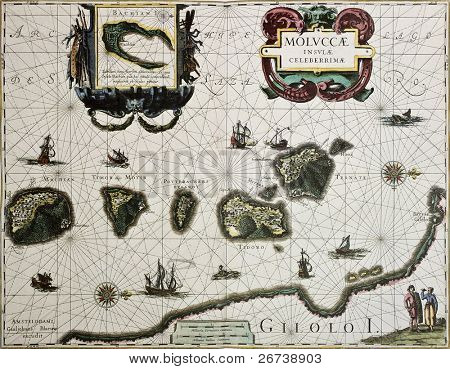 Maluku island old map. Created by Willem Blaeu, published in Amsterdam 1630
