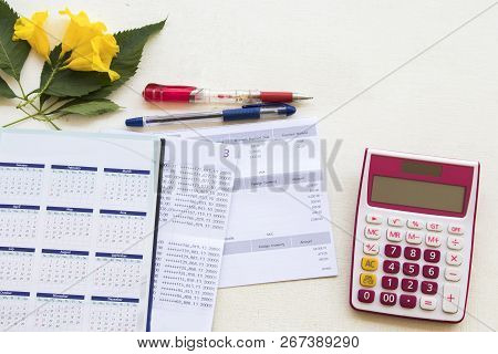 Document Monthly Of Credit Card With Passbook Bank For Check Money And Notebook Calendar Planner For