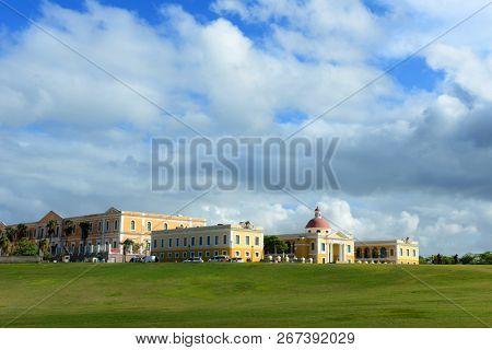 Art school in Old San Juan Puerto Rico with clouds