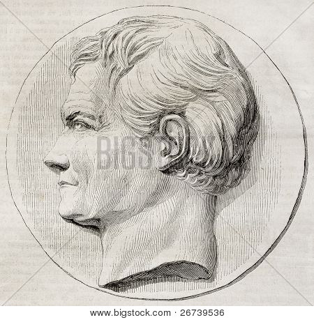 Old illustration of a commemorative medallion depicting Henri Marie Ducrotay de Blainville, French zoologist and anatomist. Created by d'Angers, published on Magasin Pittoresque, Paris, 1850.
