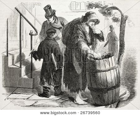 Old illustration of rag merchant in New York. Created by Job, published on L'Illustration Journal Universel, Paris, 1857