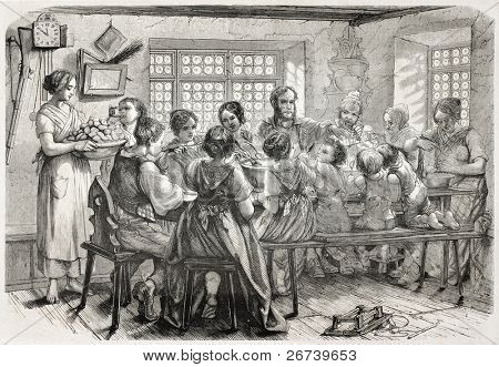 Old illustration of family meal in an Alsatian farm. Created bySchuler, published on L'Illustration Journal Universel, Paris, 1857