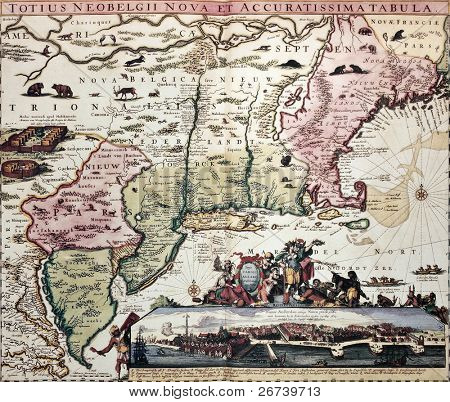 New England old map with New Amsterdam insert view. Created by Carel Allard, published in Amsterdam, 1700