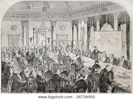 Old illustration of London meeting in occasion of the beginning of isthmus of Suez excavation. By unidentified author, published on L'Illustration, Journal Universel, Paris, 1857