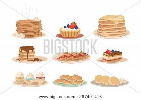 Set With Various Sweet Desserts Stack Of Pancakes, Cupcakes, Cake, Fritters And Tartelette. Tasty Br