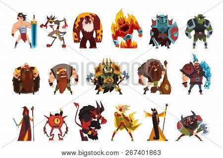 Fantasy Creatures And Humans. Orc, Warrior In Armor, Fire Monster, Snake, Viking, Giant, Wild Man. C