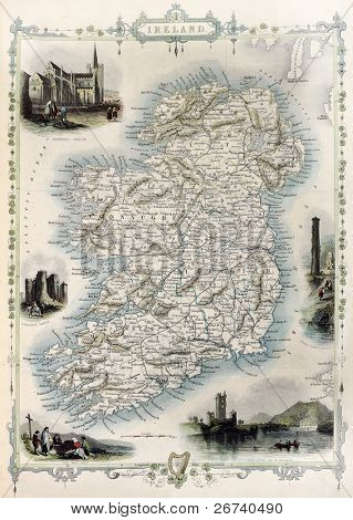 Ireland old map. Created by John Tallis, published on Illustrated Atlas, London 1851