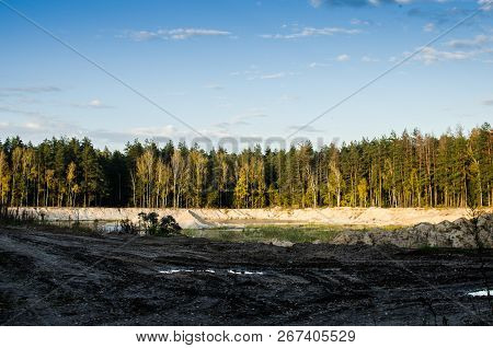 Sand Pit. Sand Special For Construction. Sand Pit In The Forest For The Extraction Of Sand