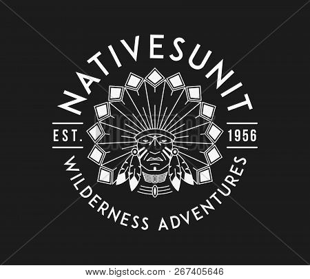 Outdoor Nativesunit White On Black Is A Vector Illustration About Wilderness Exploration