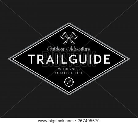 Outdoor Scouting Trail Guide White On Black Is A Vector Illustration About Wilderness Exploration