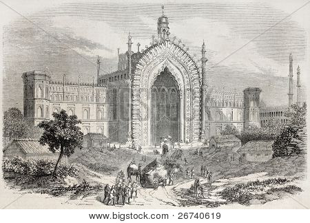 Old illustration of Rumi Darwaza gateway in Lucknow, India. Created by Freeman after photo and drawing of De Lagrange, published on L'Illustration, Journal Universel, Paris, 1857