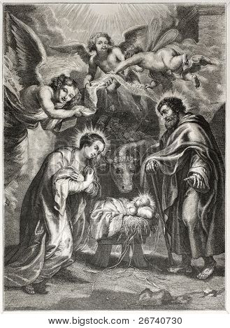 Old illustration of the holy Nativity. Engraved by Jourdain after painting of Rubens,  published on L'Illustration Journal Universel, Paris, 1857 poster