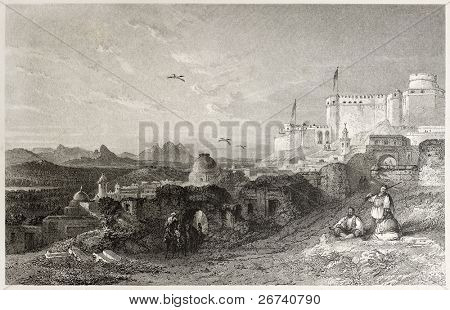 Old view of Sicca Veneria, ancient Roman city at El Kef, Tunisia. Created by Allom and Challis, published on Il Mediterraneo Illustrato, Spirito Battelli ed., Florence, Italy, 1841