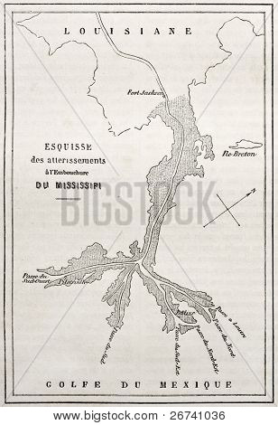 Old map of alluvial deposits at Missisipi estuary. Engraved by Erhard after chart of Franklin-Bache, published on Le Tour du Monde, Paris, 1860