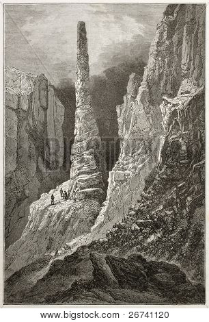 Old illustration of vertical rock formation named Tennyson monument by Elisha Kane during rescue Arctic exploration. Created by Sabatier after Kane, published on Le Tour du Monde, Paris, 1860 poster