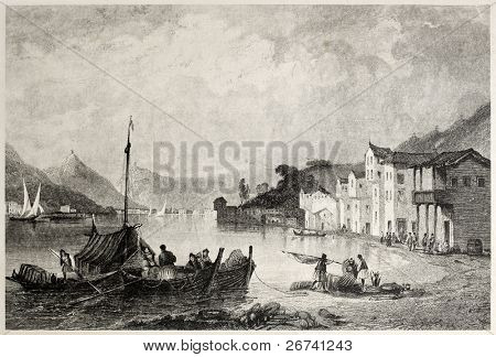 Old view of town and port of Bathi, Ithaca. Created by Bentley and Sands, published on Il Mediterraneo Illustrato, Spirito Battelli ed., Florence, Italy, 1841 poster