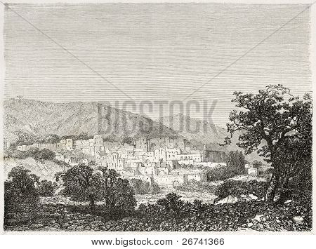 Old view of Bethlehem, Palestine. Created by Navlet after sketch of Gerardy Saintine, published on Le Tour du Monde, Paris, 1860