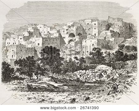 Old view of Nazareth, Palestine. Created by Therond after photo of unknown author, published on Le Tour du Monde, Paris, 1860