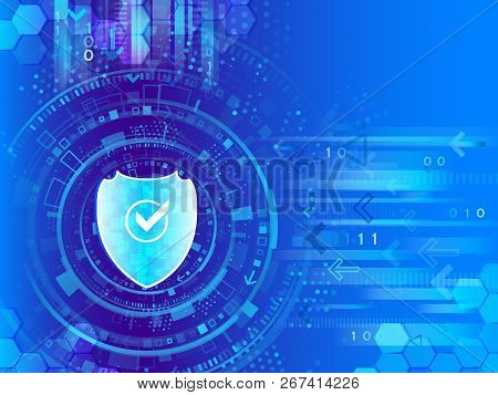 Global Network Security. Cyber Data Protection Of Business Technology. System Privacy. Digital Backg