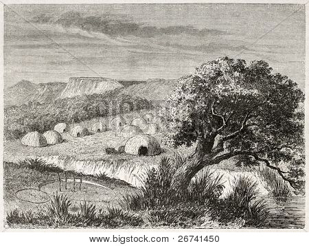 Old illustration of Kiowa village, Oklahoma. Created by Duveaux after report made under the direction of the U.S. secretary of the war. Published on Le Tour du Monde, Paris, 1860
