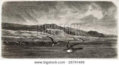 Mount Parry old view, Palmer Archipelago, Antarctic region. Created by Noel after Kane, published on Le Tour du Monde, Paris, 1860