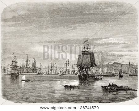 New Orleans port, old view. Created by De Berard after photo of unknown author, published on le Tour du Monde, Paris, 1860